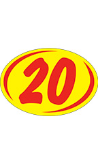 "Oval 2-Digit Year Stickers - Red/Yellow - ""20"""