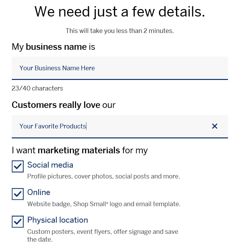 Small Business Saturday Web Form