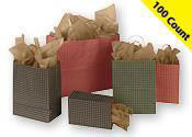 Gingham Paper Shopping Bags 100 Count