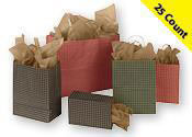 Gingham Paper Shopping Bags 25 Count