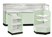 Seafoam Green Metal Display Cases