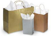 Metallic Kraft Paper Shopping Bags