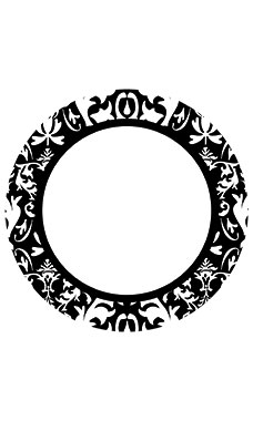 Boutique Circle Black Damask Sign Cards