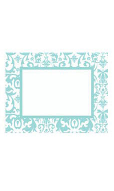 Large Boutique Aqua Damask Sign Cards