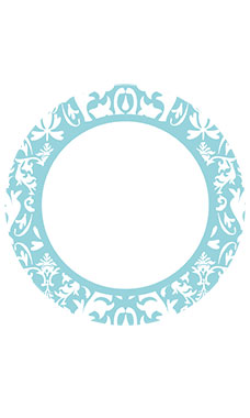 Boutique Circle Aqua Damask Sign Cards