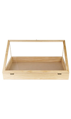 36 inch Portable Natural Pine Wood Countertop Display Case