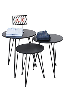 Round Nesting Black Tables with Tripod Legs