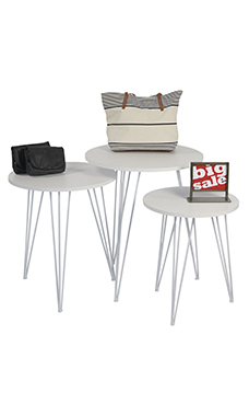 Round Nesting White Tables with Tripod Legs