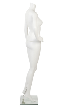 Female Headless White Plastic Mannequin- Bent Arm