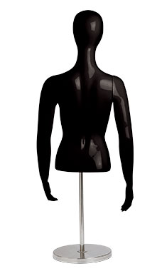 Female Glossy Black ½ Body Mannequin