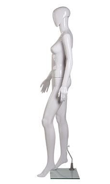 Female Glossy White Plastic Mannequin Pose 1