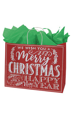 Large Red Modern Christmas Chalkboard Paper Shopping Bags - Case of 100