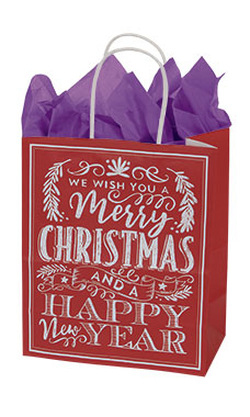 Medium Red Modern Christmas Chalkboard Paper Shopping Bags - Case of 25