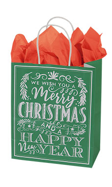Medium Green Modern Christmas Chalkboard Paper Shopping Bags - Case of 25