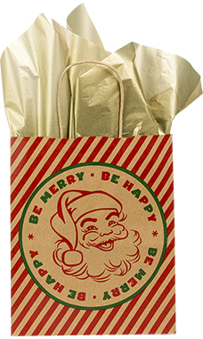 Medium Be Happy, Be Merry Santa Paper Shopping Bags - Case of 25