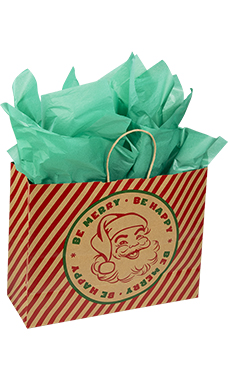 Large Be Happy, Be Merry Santa Paper Shopping Bags - Case of 25