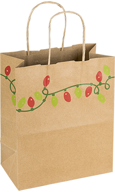 Medium Holiday Lights Paper Shopping Bags - Case of 25