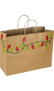 Large Holiday Lights Paper Shopping Bags - Case of 25