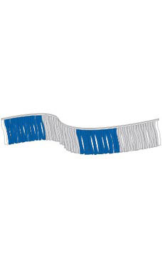 60 foot Blue/Silver Metallic Fringe Pennant