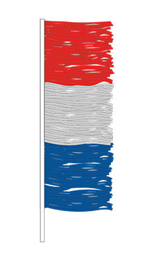 Red/Blue/Silver Metallic Fringe Antenna Pennant