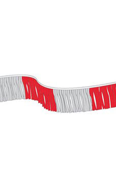 60 foot Red/Silver Metallic Fringe Pennant