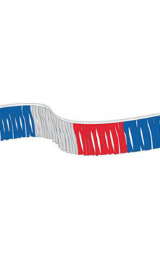 60 foot Red/Silver/Blue Metallic Fringe Pennant