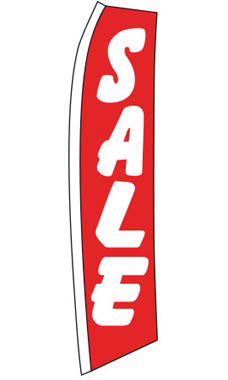 "Red ""Sale"" Wave Flag"