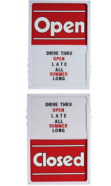 Vertical Sliding Open/Closed Sign Board with White Frame