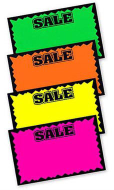 Large Colored Sale Single-Sided Sign Cards