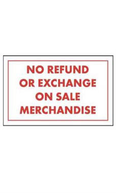 No Refund Or Exchange On Sale Merchandise Policy Sign Card