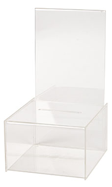 Small Acrylic Ballot Box with Sign Holder