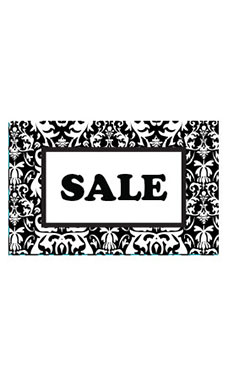 Medium Boutique Black Damask Sign Cards