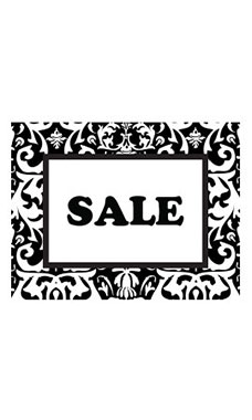 Large Boutique Black Damask Sign Cards