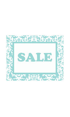 Small Boutique Aqua Damask Sign Cards