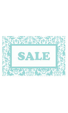 Medium Boutique Aqua Damask Sign Cards