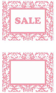 Large Boutique Pink Damask Sign Cards