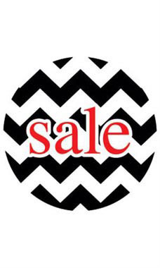 Boutique Circle Black Chevron Sign Cards