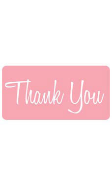 Pink Rounded Rectangle Thank You Embellishment