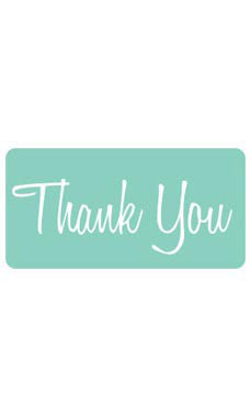 Aqua Rounded Rectangle Thank You Embellishment