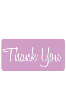 Lavender Rounded Rectangle Thank You Embellishment