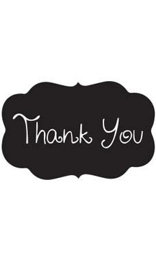 Decorative Black Thank You Embellishment