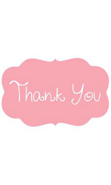 Decorative Pink Thank You Embellishment