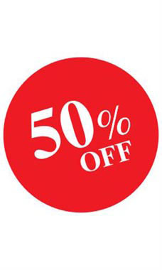 Circle 50% OFF Sign Card