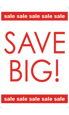 Large Vertical Save Big! Sale Sale Sale Sign Card