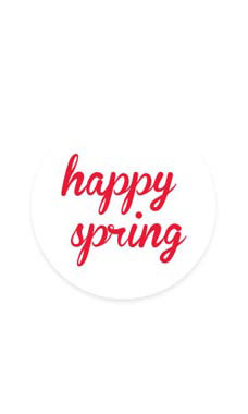 White Happy Spring Stickers