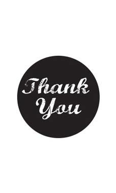 Black Thank You Stickers