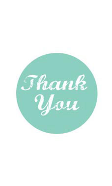 Aqua Thank You Stickers
