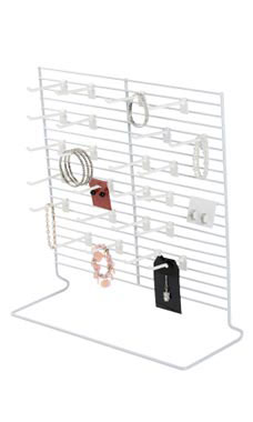 24-Peg White Wire Countertop Rack
