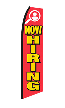 "Red, Yellow, White ""Now Hiring"" Wave Flag"