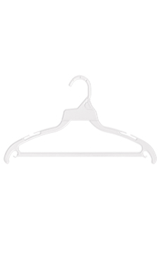 White Plastic Economy Hangers with Hang Bar